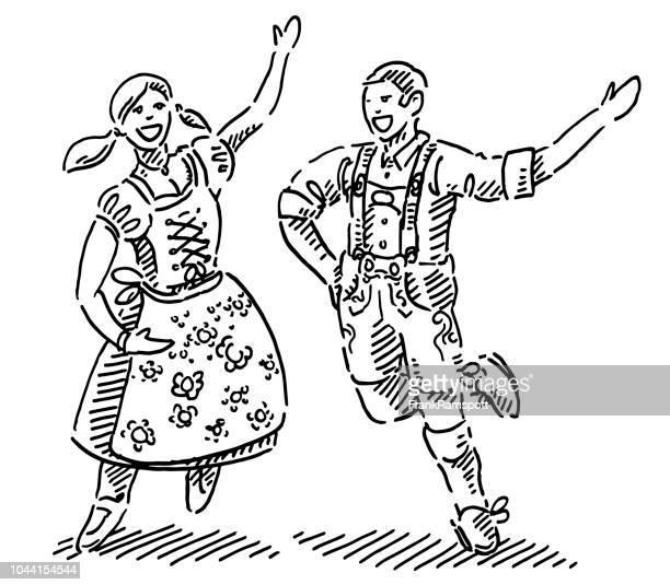 ilustraciones, imágenes clip art, dibujos animados e iconos de stock de feliz pareja de dirndl y lederhosen dibujo - pareja bailando cuerpo entero