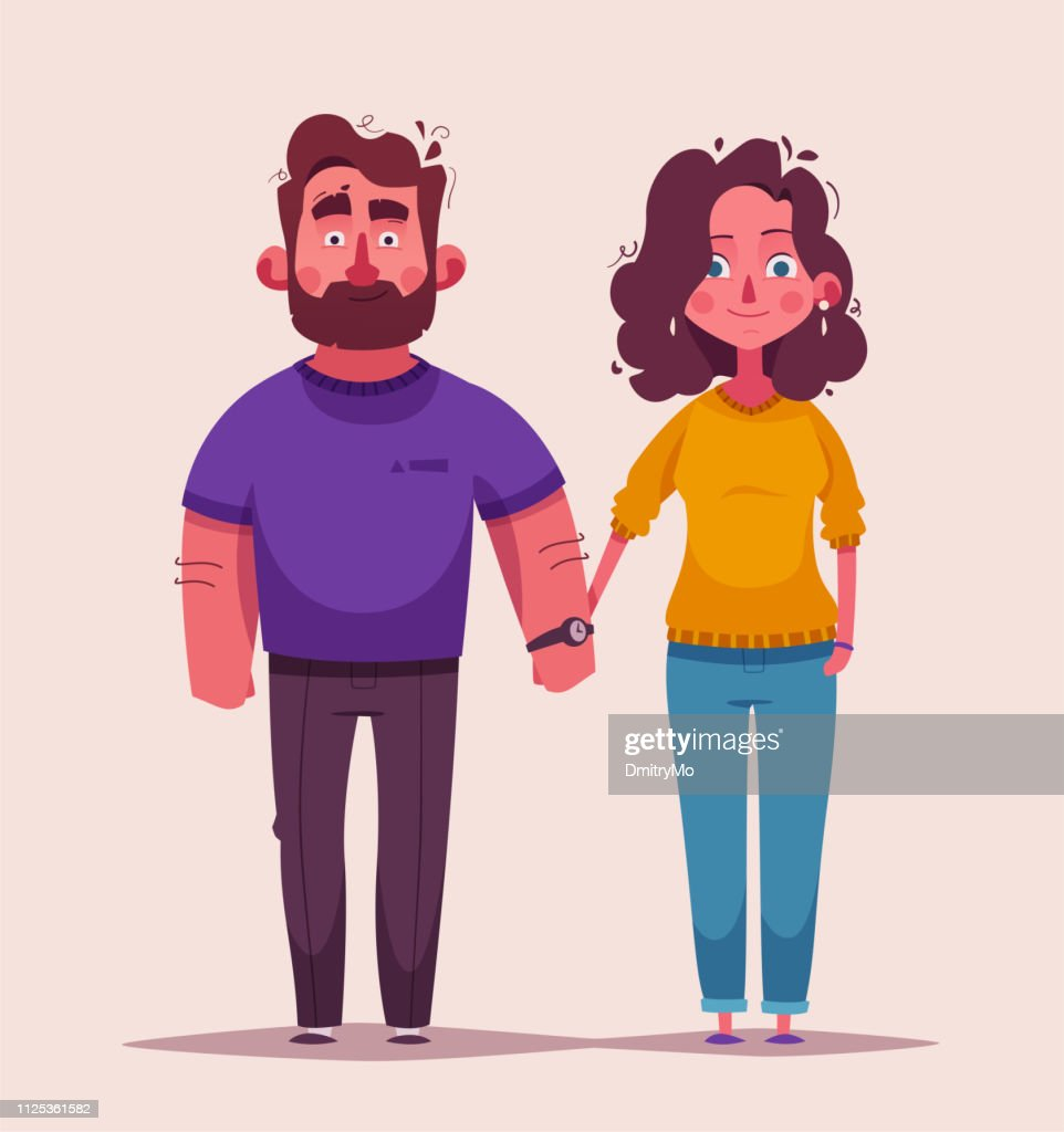 Happy couple in love. Character design. Cartoon vector illustration