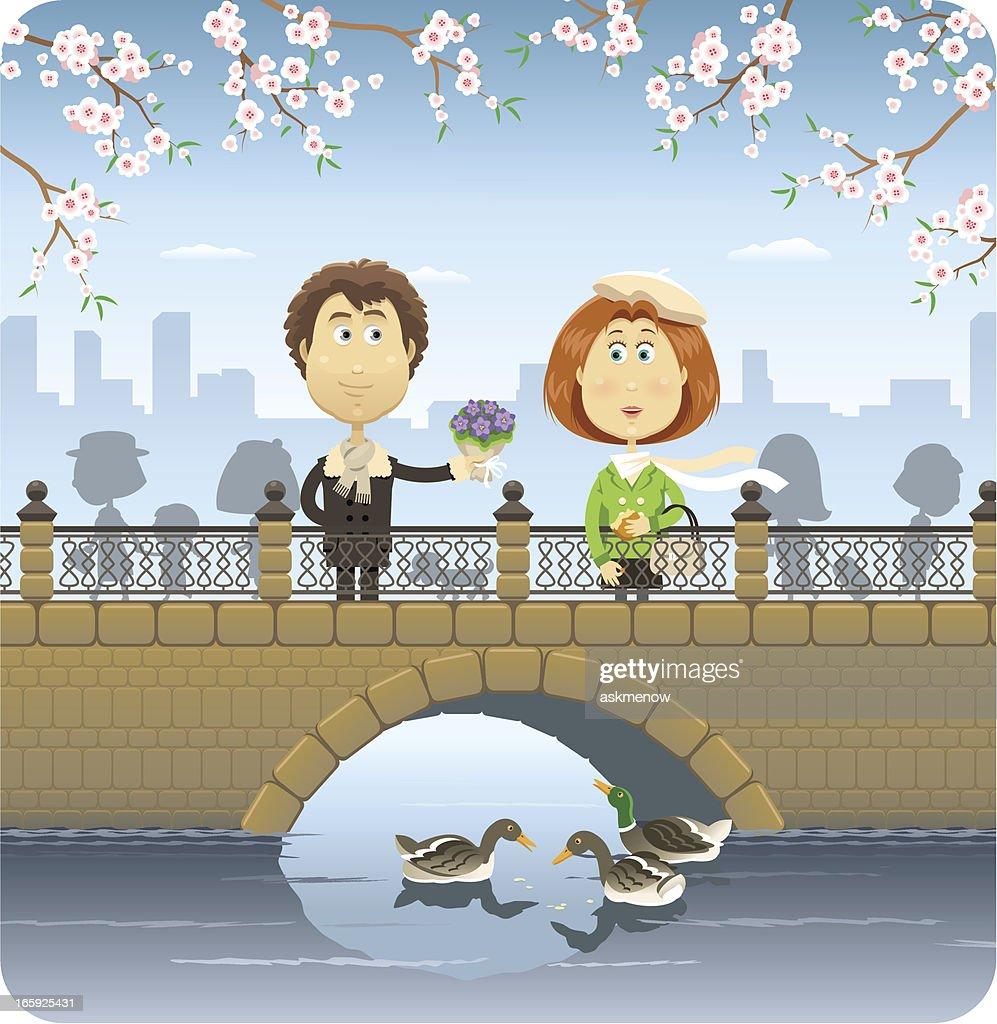 Happy couple on the bridge