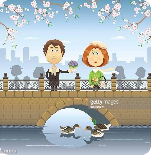 happy couple on the bridge - flirting stock illustrations, clip art, cartoons, & icons