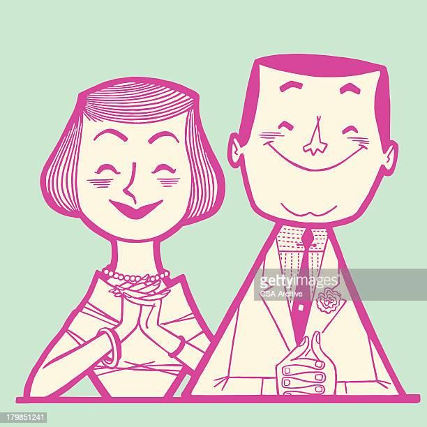 ilustraciones, imágenes clip art, dibujos animados e iconos de stock de feliz pareja - esposo