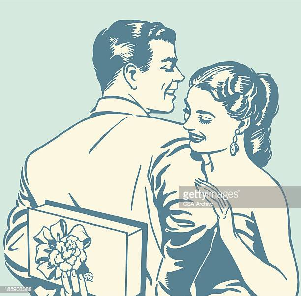 happy couple - flirting stock illustrations, clip art, cartoons, & icons