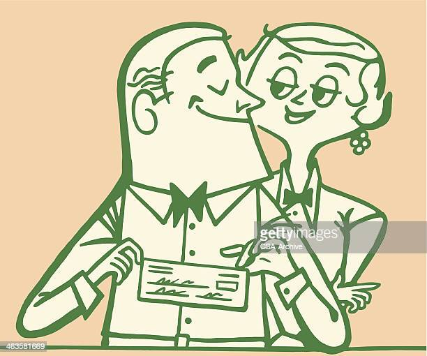 happy couple - paycheck stock illustrations, clip art, cartoons, & icons