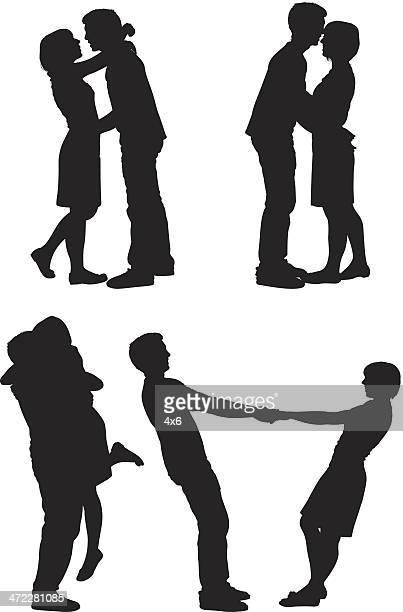 glückliche paare, die niedlichen flirten - flirting stock-grafiken, -clipart, -cartoons und -symbole