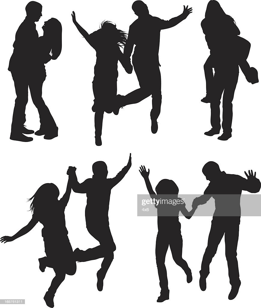 Happy couples running and jumping frolicking about : stock illustration