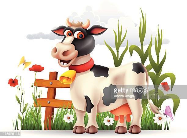 ilustraciones, imágenes clip art, dibujos animados e iconos de stock de feliz de vaca - vacas