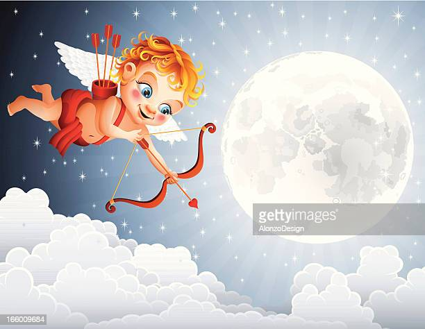 happy cupid flying over the clouds - cupid stock illustrations