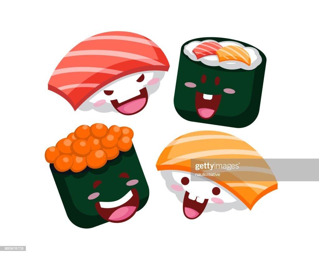 Happy Cute Delicious Sushi Cartoon Character Illustration