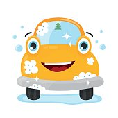 Happy cute fun clear car. Vector flat