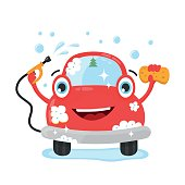 Happy cute fun clear car with hose and washcloth