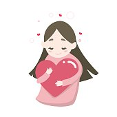 Happy cute girl's hugging heart with love feeling, vector illustration