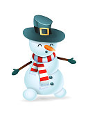 Happy cute snowman with hat vector illustration