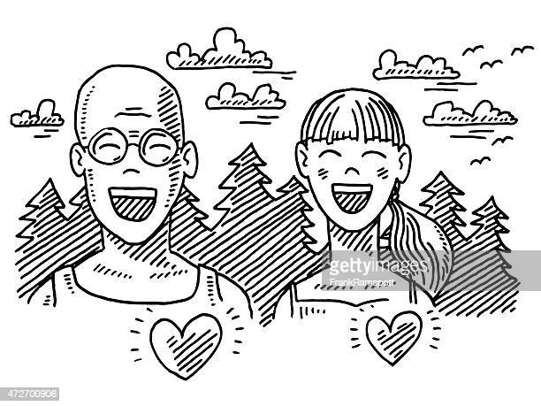happy dad and daughter outdoor sport drawing - eyes closed stock illustrations, clip art, cartoons, & icons