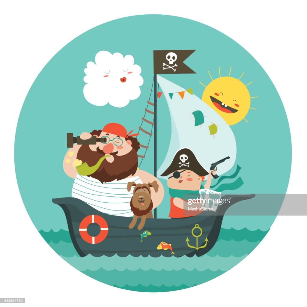 Happy dad and son sailing at their pirate ship