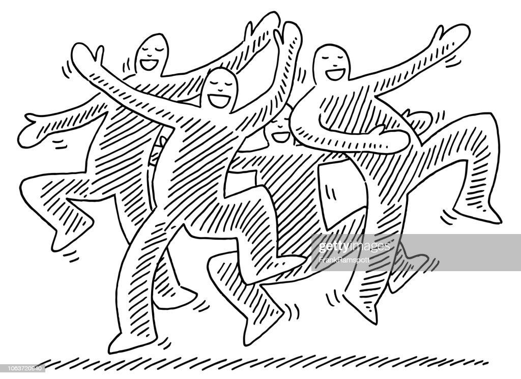 Glücklich tanzende menschliche Figuren zeichnen : Vektorgrafik