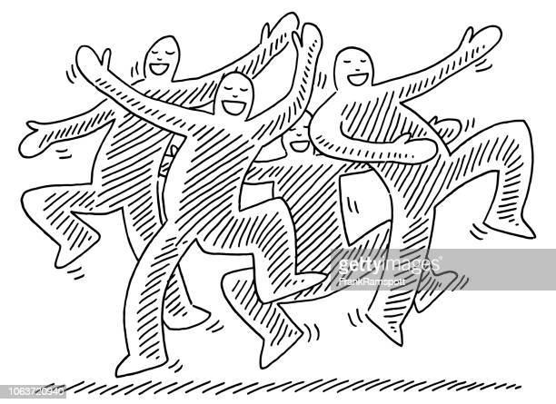 happy dancing human figures drawing - joy stock illustrations
