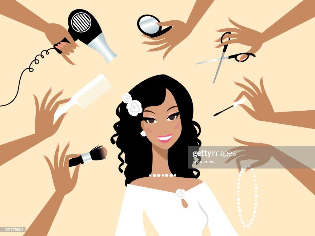 Happy dark skin bride in a beauty salon : stock illustration