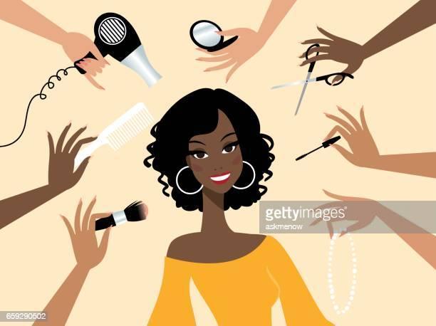 Glad mörk hud kvinna i en skönhetssalong