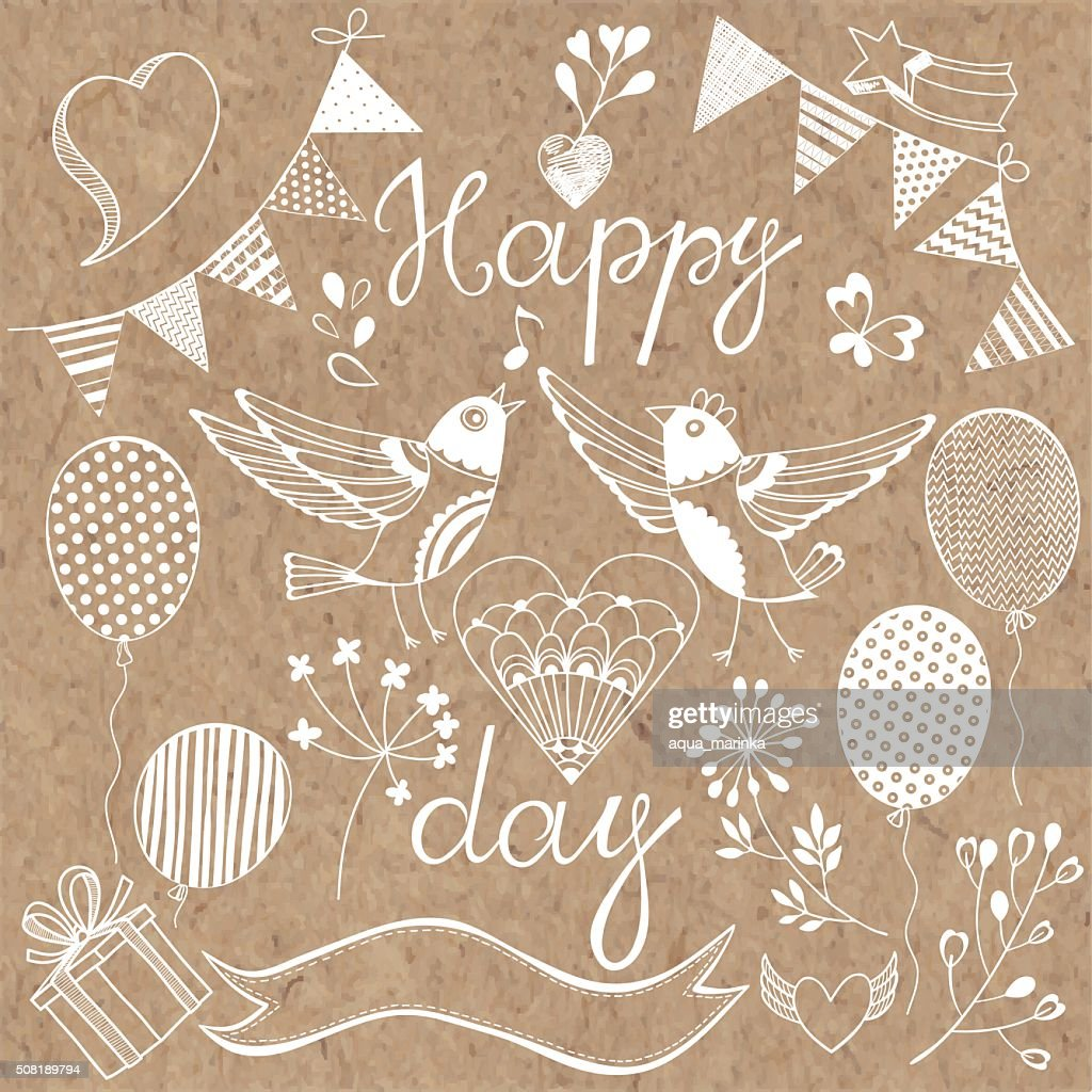 Happy day.Festive vector set. Isolated design elements.