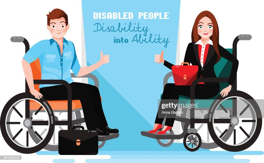 Happy disabled people