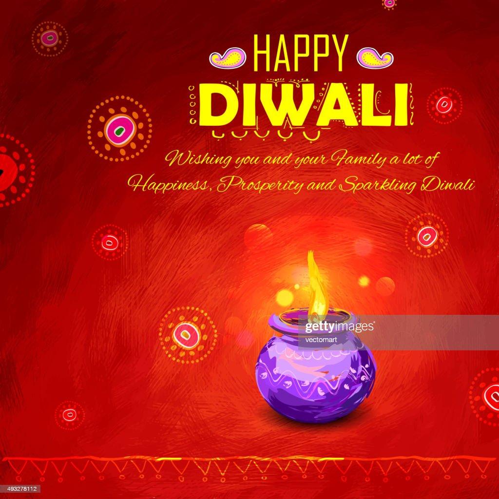 Happy Diwali background coloful watercolor diya