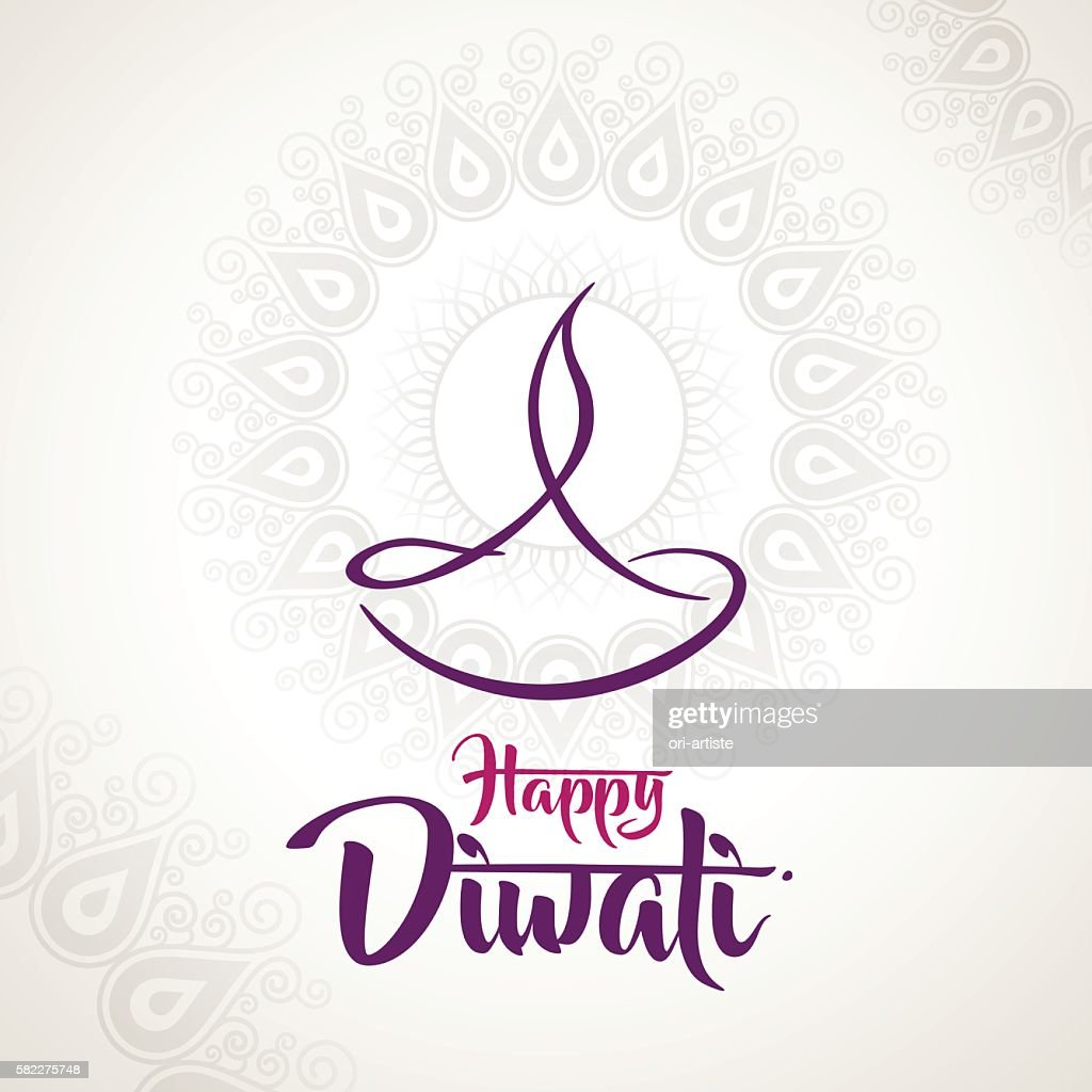 happy diwali diya oil lamp design