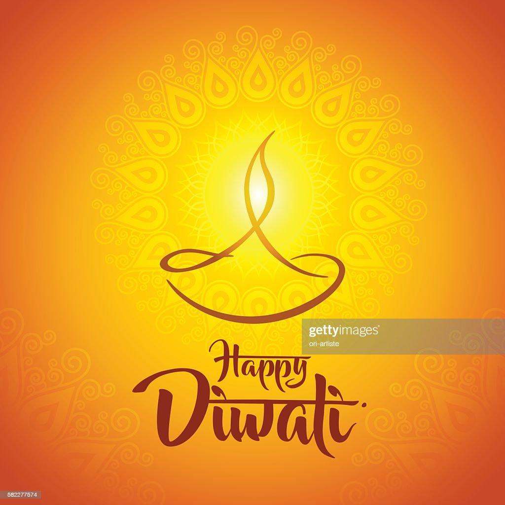 happy diwali diya oil lamp design