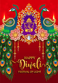Happy Diwali festival 2018 with gold diya patterned and Peacock, feathers, flower paper cut art craft style on color Background.