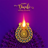 Happy Diwali festival card with gold diya patterned and crystals on paper color Background.