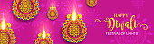 Happy Diwali festival card with gold diya patterned and crystals on paper color Background