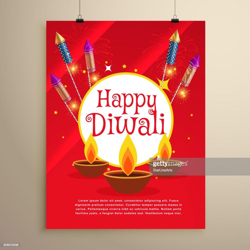 Happy Diwali Festival Greeting Card Invitation Template Design