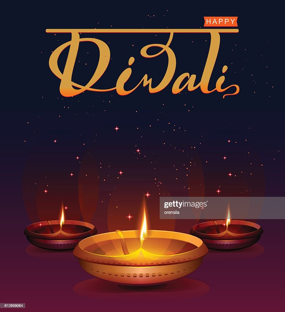 Happy Diwali festival of lights. Retro oil lamp