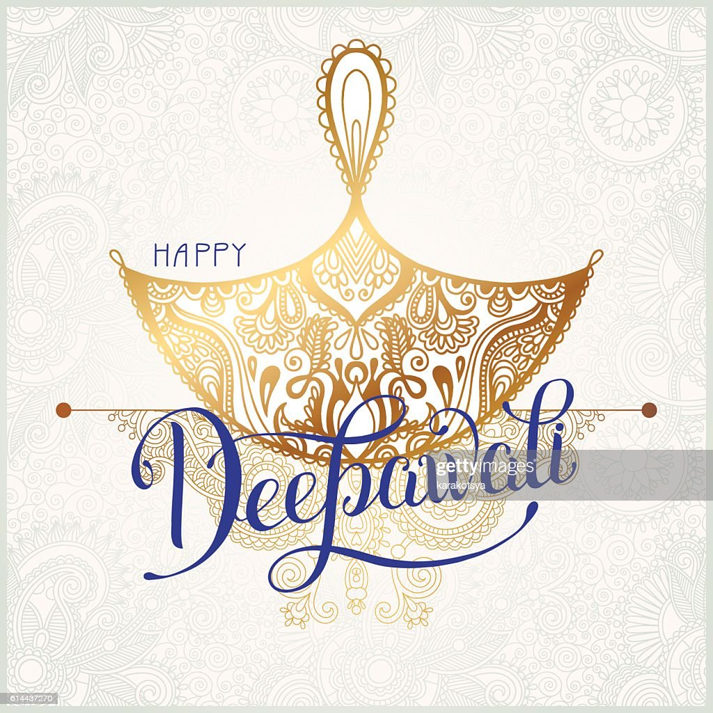 Happy Diwali gold greeting card with hand written inscription to