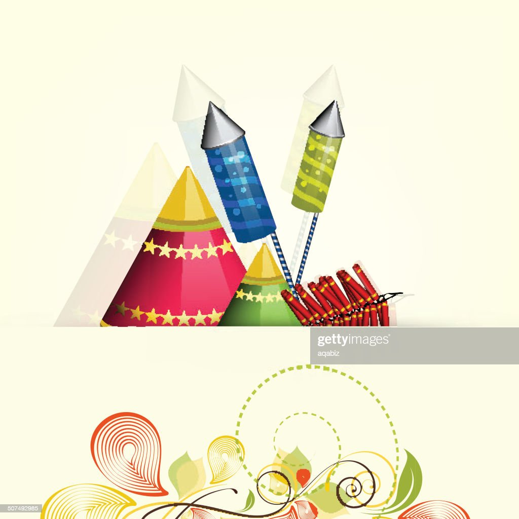 Happy Diwali Greeting Card With Colorful Firecrackers Vector Art