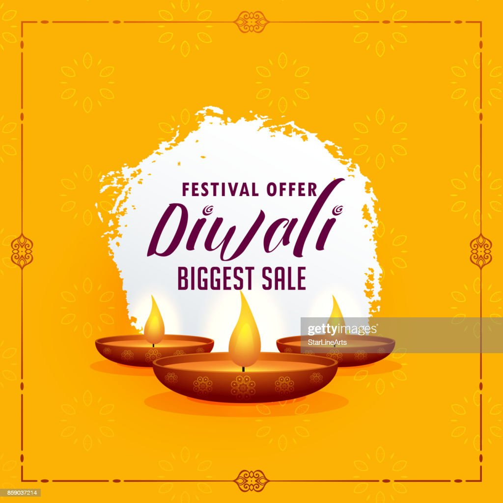 Happy Diwali Greeting Design Template With Three Diya Lamps On