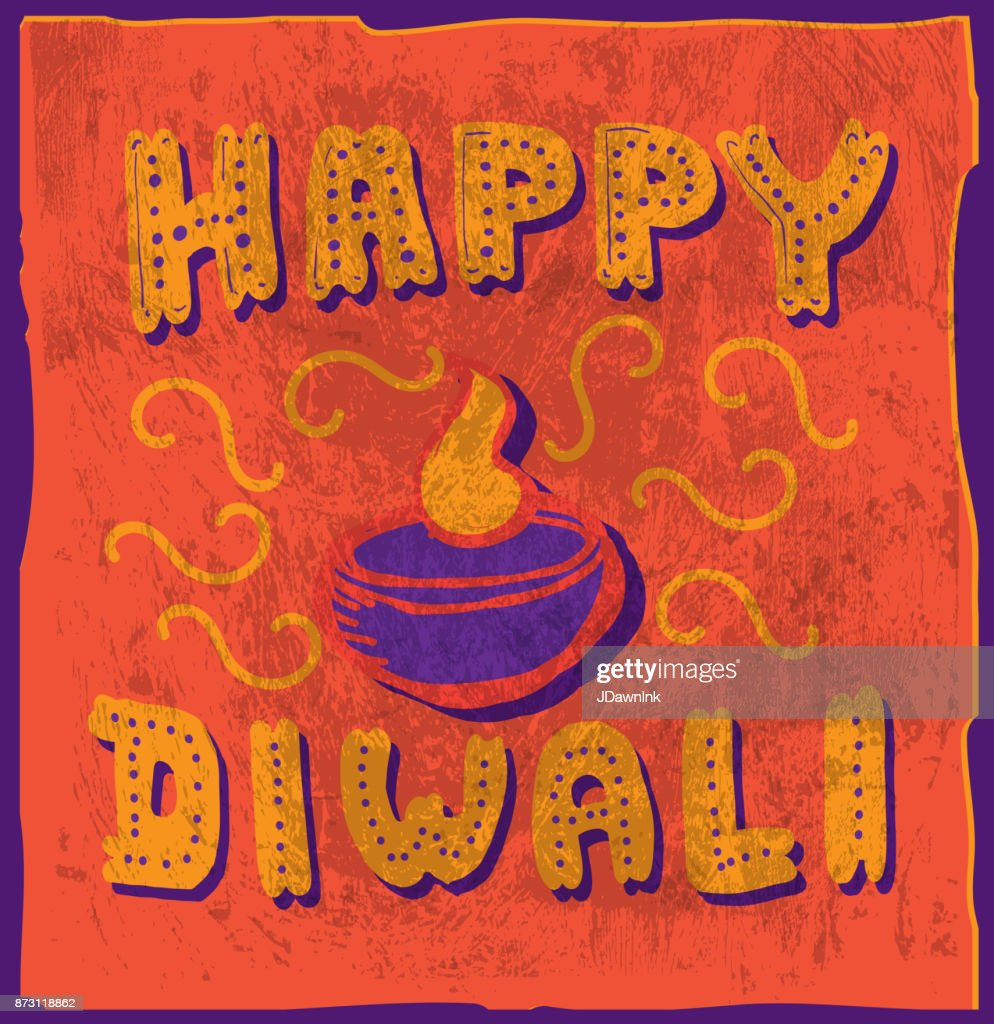 Happy Diwali Hand Lettered Greeting Card Design Template Vector Art