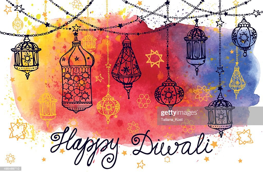 Happy Diwali hanging lamps and Watercolor splash