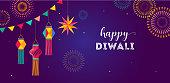 Happy Diwali Hindu festival banner, greeting card. Burning diya illustration, background for light festival of India