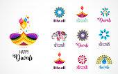 Happy Diwali Hindu festival icons, elements, logo set. Burning diya illustration, light festival of India