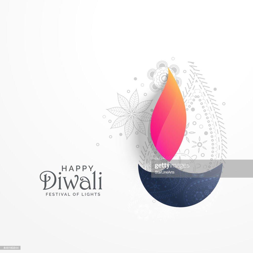 happy diwali holiday greeting card with paisley decoration and diya background