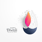 happy diwali holiday greeting card with paisley decoration and diya background