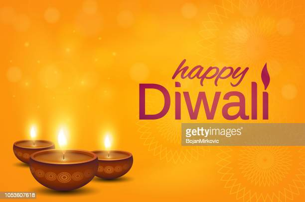 happy diwali orange poster. shiny oil lamps diya. vector illustration. - diwali stock illustrations