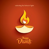 Happy Diwali. Paper Graphic of Indian Diya Oil Lamp Design