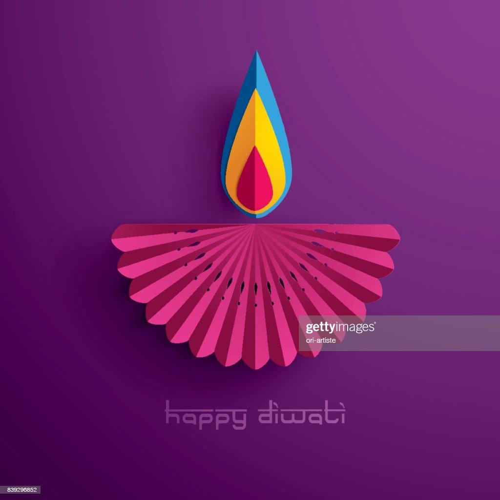 Happy Diwali. Paper Graphic of Indian Diya Oil Lamp Design.