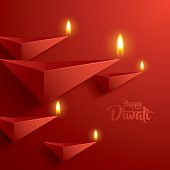 Happy Diwali. Paper Graphic of Indian Diya Oil Lamp Design.