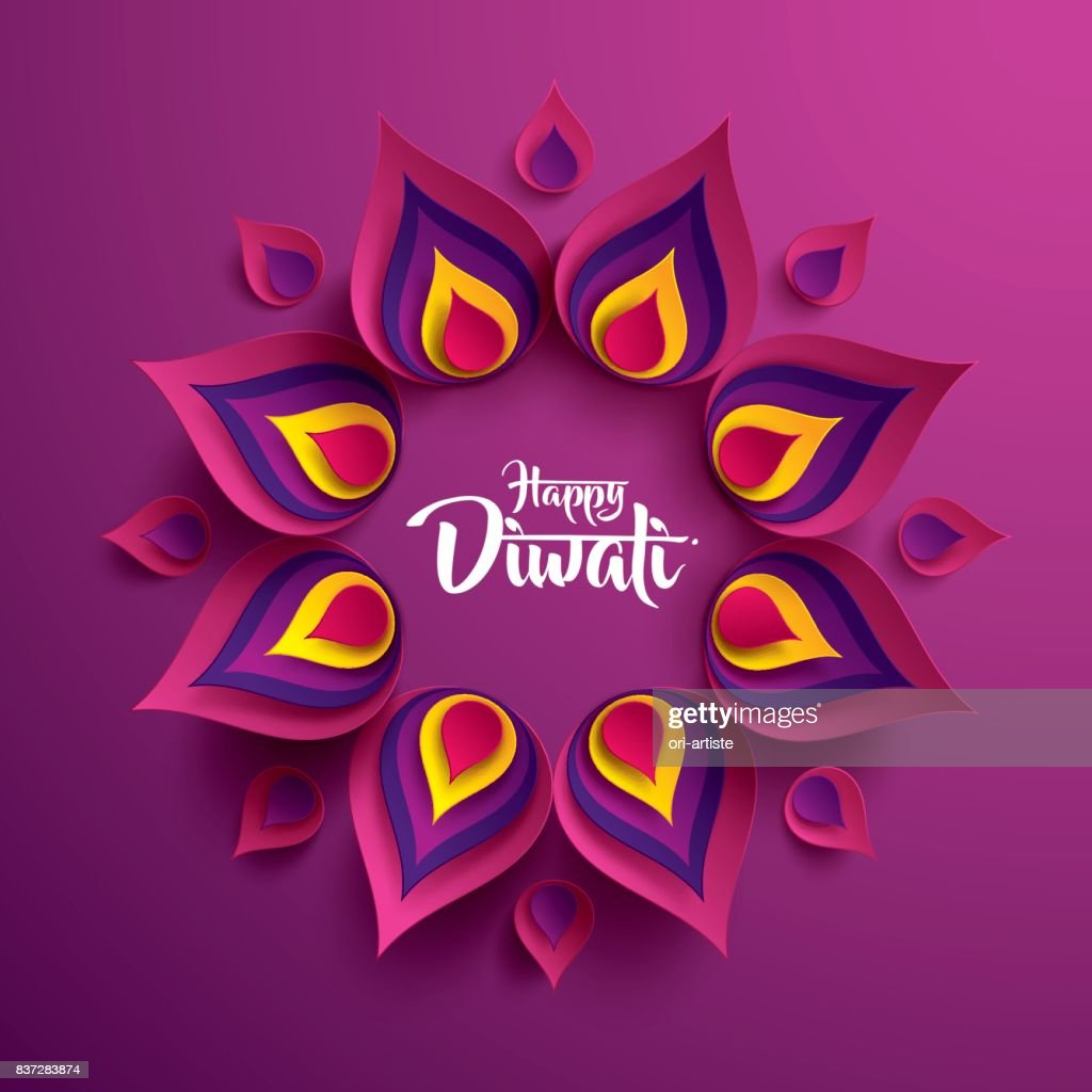 Happy Diwali. Paper Graphic of Indian Rangoli.