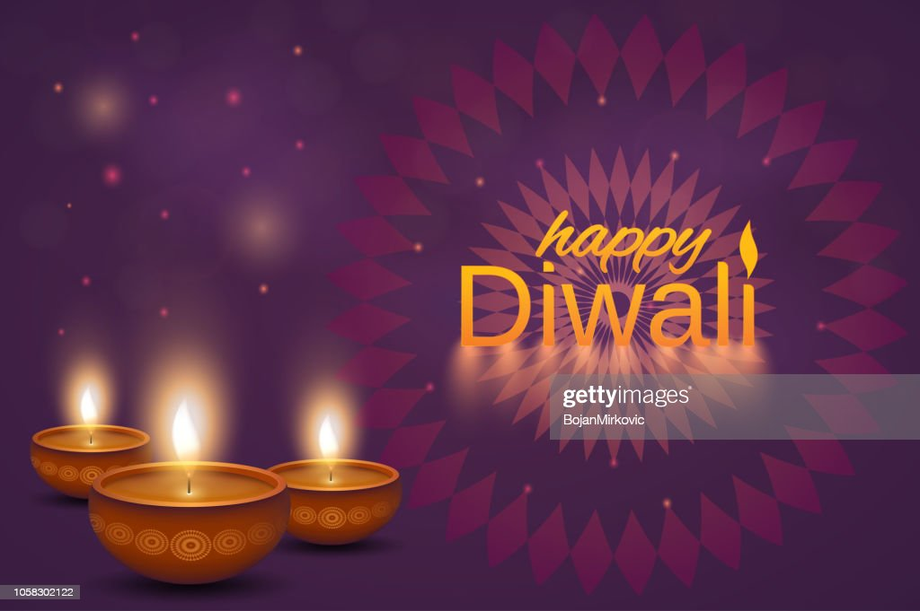 Happy Diwali Poster Or Background Shiny Oil Lamps Diya With