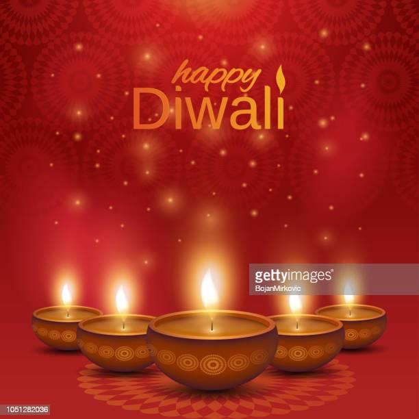 happy diwali poster. shiny oil lamps diya on abstract background. vector illustration. - diwali stock illustrations
