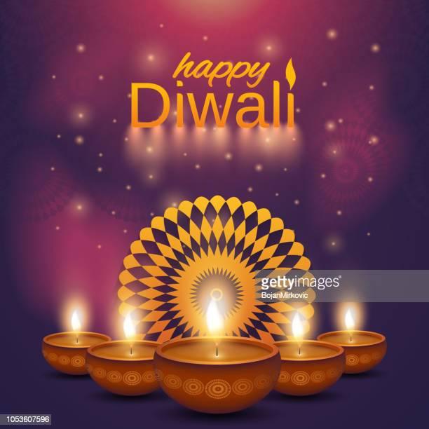 happy diwali purple poster. shiny oil lamps diya with mandala. abstract background. vector illustration. - diwali stock illustrations