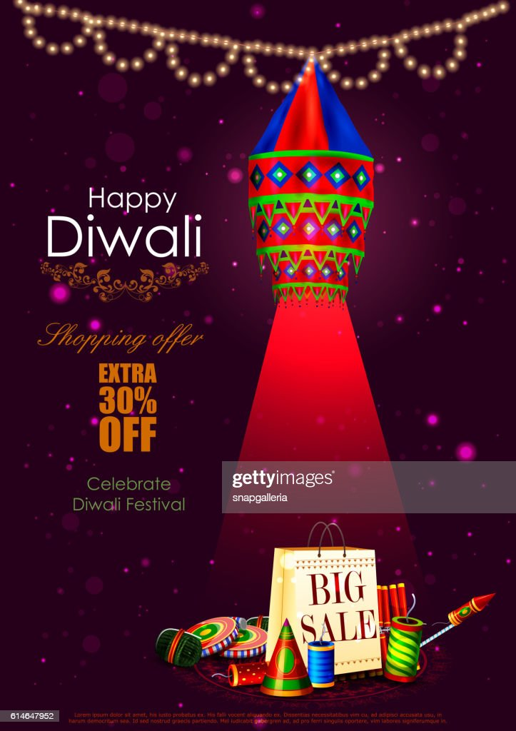 Happy Diwali shopping sale offer with hanging lamp